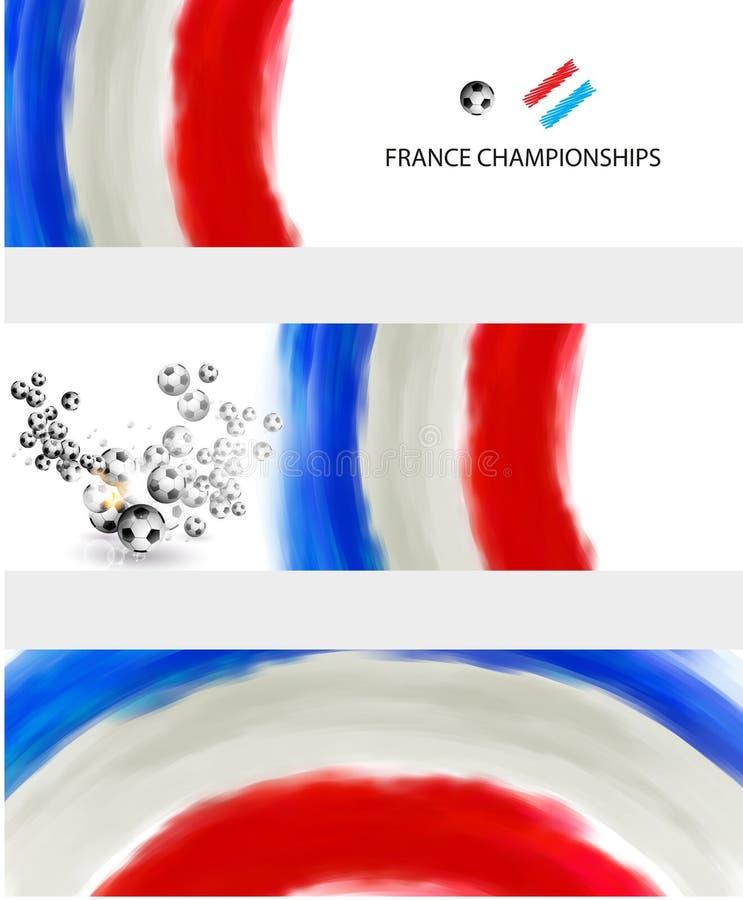 Vlag van het voetbal van Frankrijk met bal stock illustratie