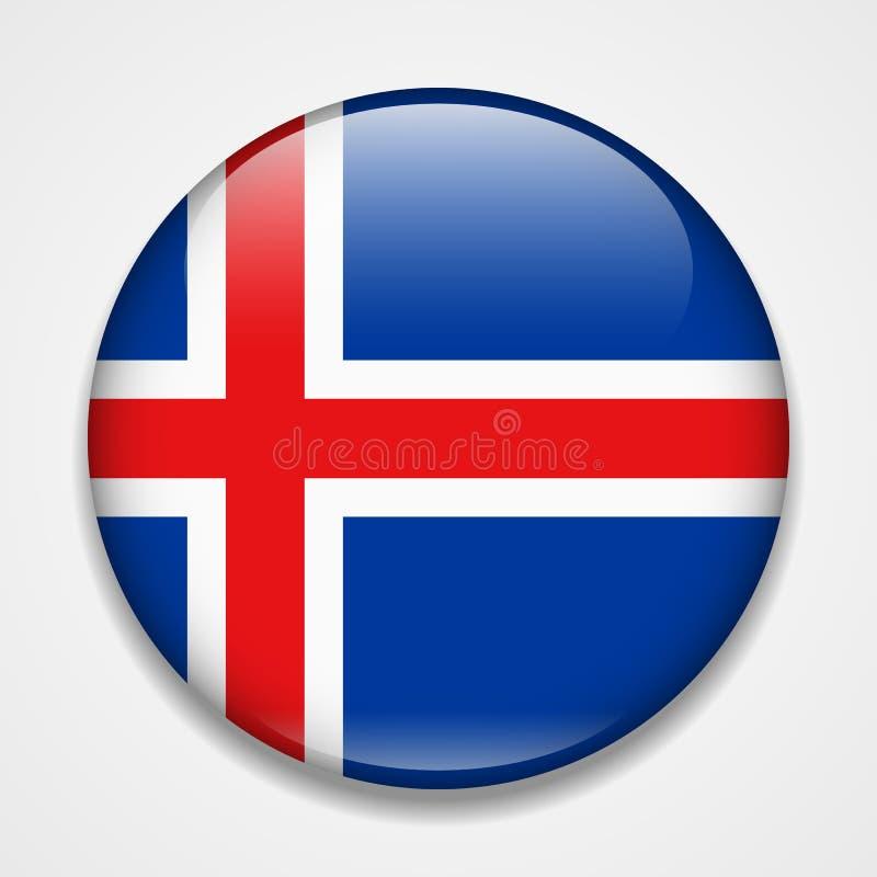 Vlag van IJsland Rond glanzend kenteken royalty-vrije illustratie