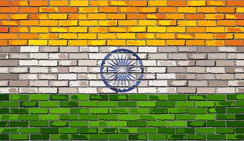 Vlag van India op een bakstenen muur stock illustratie