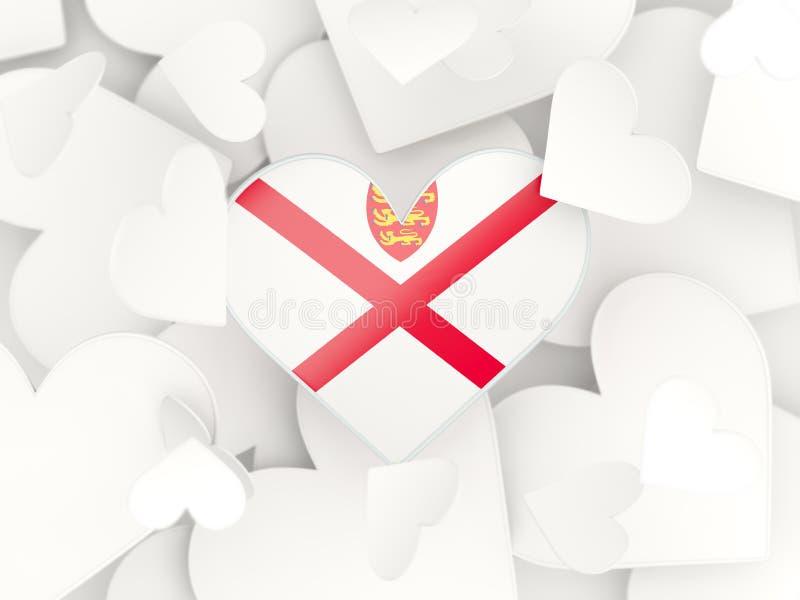 Vlag van Jersey, hart gevormde stickers royalty-vrije illustratie