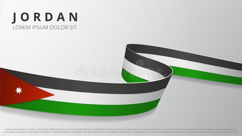 Vlag van Jordanië Realistisch golvend lintje met Jordaanse vlagkleuren Grafisch en webontwerpsjabloon Nationaal symbool royalty-vrije illustratie