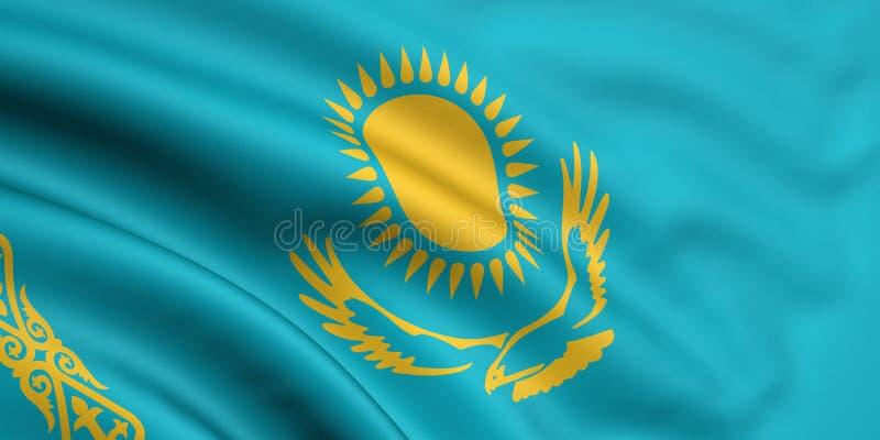 Vlag van Kazachstan vector illustratie