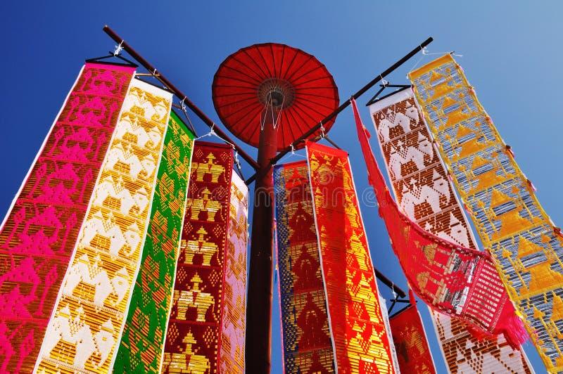 Vlag van Lanna Thai stock afbeeldingen