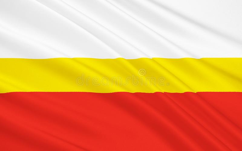 Vlag van Lesser Poland Voivodeship in zuidelijk Polen royalty-vrije stock fotografie