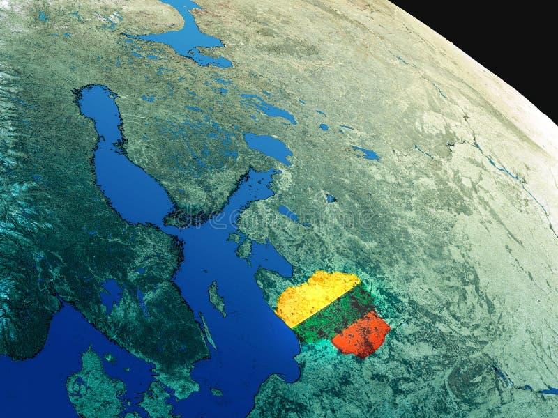 Vlag van Litouwen van ruimte stock illustratie