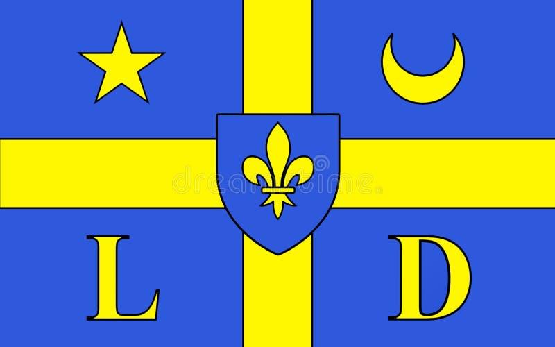 Vlag van Lodeve, Frankrijk royalty-vrije stock afbeelding