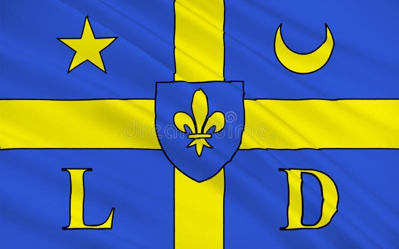 Vlag van Lodeve, Frankrijk royalty-vrije stock foto's