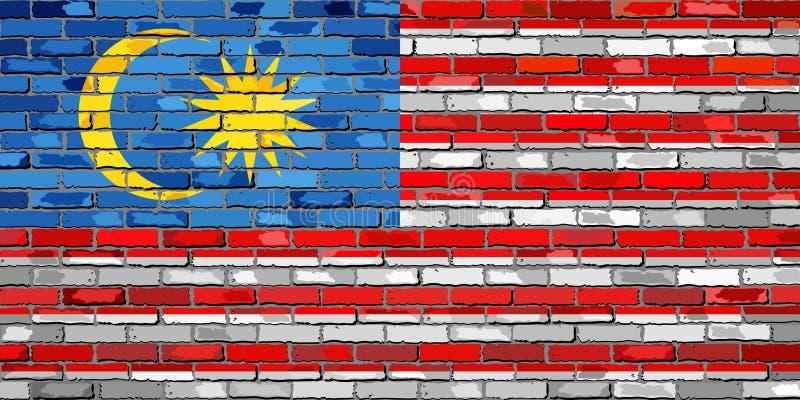 Vlag van Maleisië op een bakstenen muur royalty-vrije illustratie