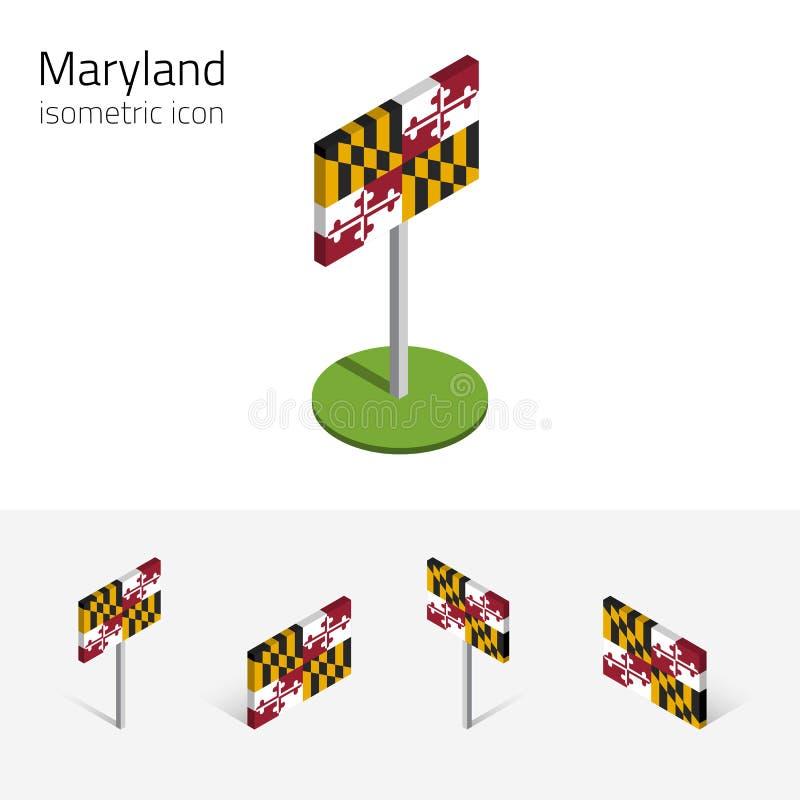 Vlag van Maryland de V.S., vector 3D isometrische vlakke pictogrammen vector illustratie