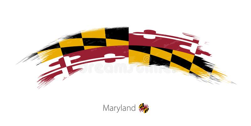 Vlag van Maryland in rond gemaakte grunge kwaststreek vector illustratie