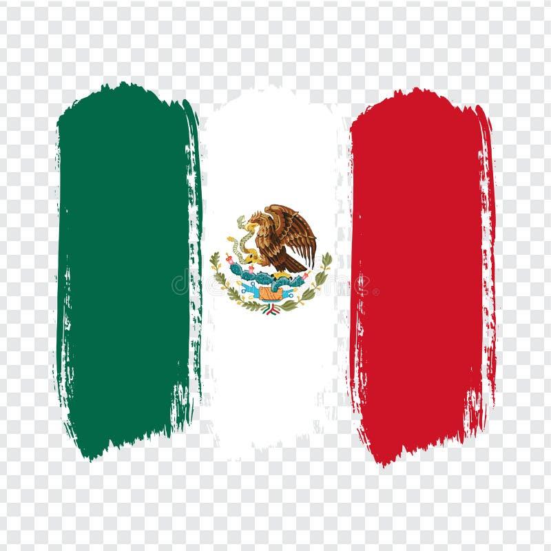 Vlag van Mexico, de achtergrond van de borstelslag Vlag van Mexicaanse Verenigde Staten op transparante achtergrond vector illustratie