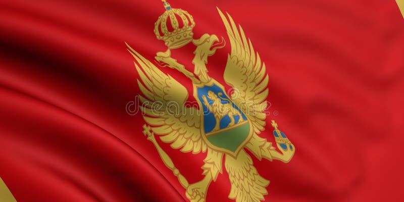 Vlag van Montenegro stock illustratie