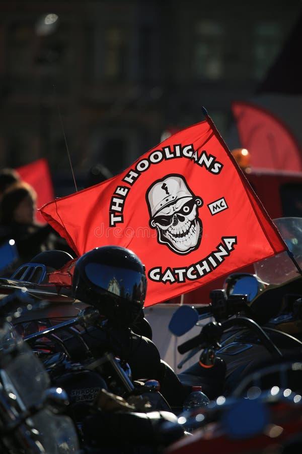 Vlag van motorclub de HOOLIGANS GATCHINA stock foto's