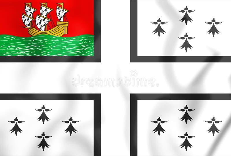 Vlag van Nantes, Frankrijk 3D Illustratie stock illustratie