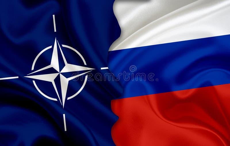 Vlag van NATOand-vlag van Rusland royalty-vrije illustratie
