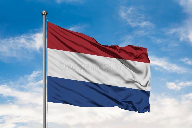 Vlag van Nederland die in de wind tegen witte bewolkte blauwe hemel golven Nederlandse Vlag royalty-vrije stock afbeelding
