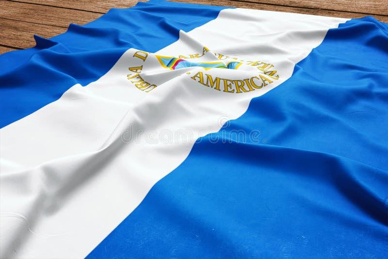 Vlag van Nicaragua op een houten bureauachtergrond Hoogste mening van de zijde Nicaraguan vlag stock afbeeldingen