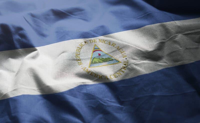 Vlag van Nicaragua verfomfaaide dicht omhoog royalty-vrije stock foto