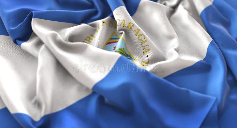 Vlag van Nicaragua verstoorde prachtig Golvend Macroclose-upschot stock afbeeldingen