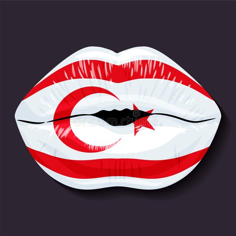 Vlag van Noordelijk Cyprus royalty-vrije illustratie