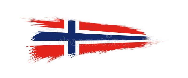 Vlag van Noorwegen in grungekwaststreek vector illustratie
