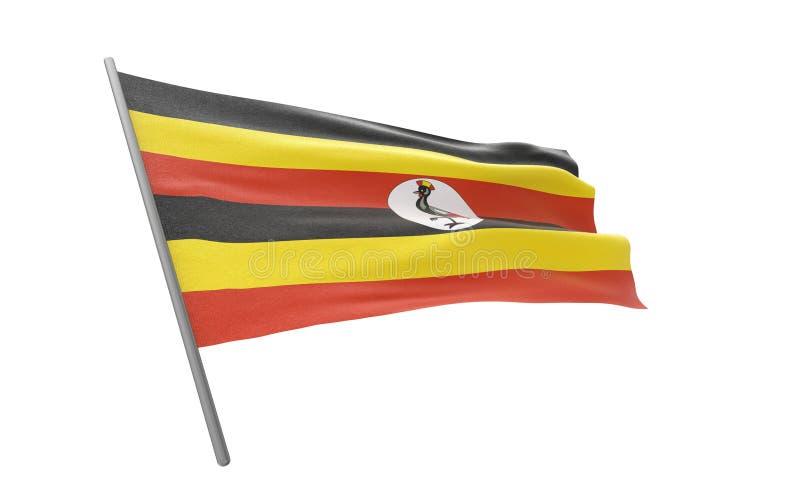 Vlag van Oeganda stock illustratie