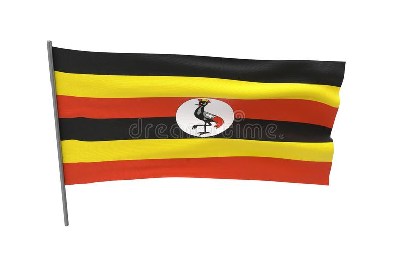 Vlag van Oeganda stock foto's