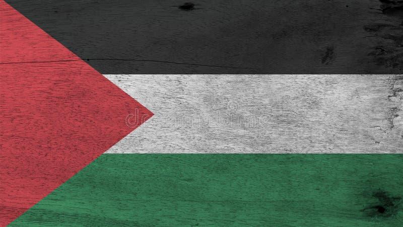 Vlag van Palestina op houten plaatachtergrond De vlagtextuur van Grungepalestina royalty-vrije stock afbeelding
