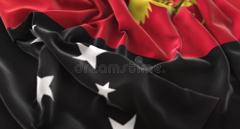 Vlag van Papoea-Nieuw-Guinea verstoorde prachtig het Golven Macroclose-up royalty-vrije stock foto