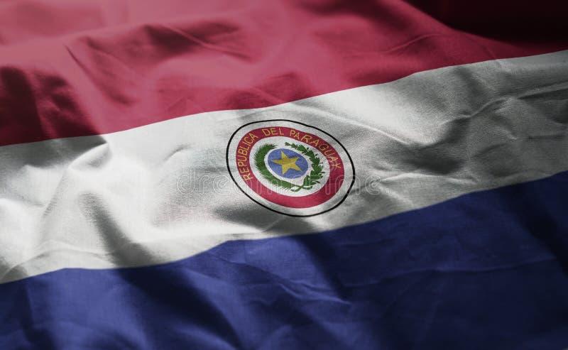 Vlag van Paraguay verfomfaaide dicht omhoog royalty-vrije stock afbeelding