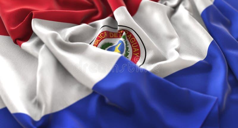 Vlag van Paraguay verstoorde prachtig Golvend Macroclose-upschot stock foto