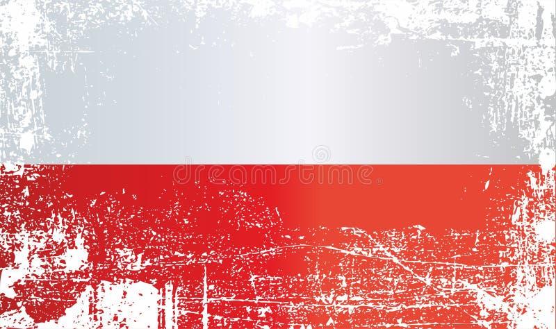 Vlag van Polen Gerimpelde vuile vlekken royalty-vrije illustratie