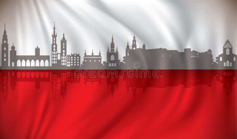 Vlag van Polen met de horizon van Krakau vector illustratie