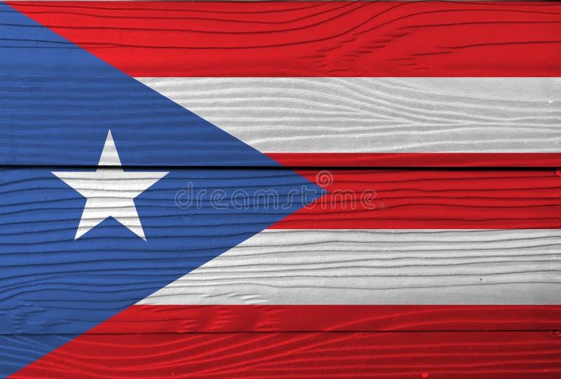 Vlag van Puerto Rico op houten muurachtergrond De vlagtextuur van Grungepuerto rico stock fotografie