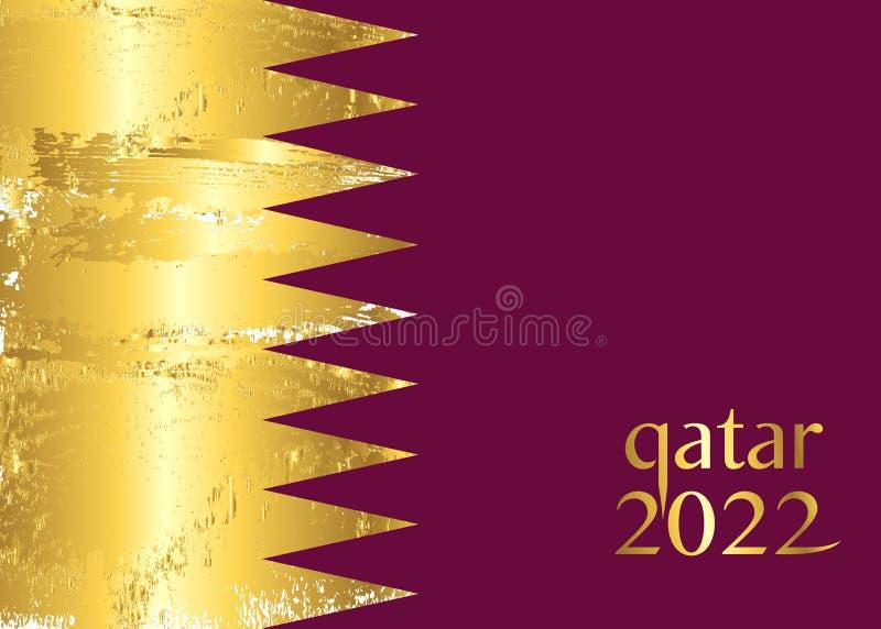 Vlag van Qatar, abstracte banner voor van het de Wereldbekermalplaatje van QATAR 2022 het conceptenachtergrond Gouden tekst met l vector illustratie