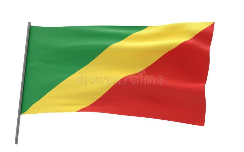 Vlag van Republiek de Kongo stock illustratie