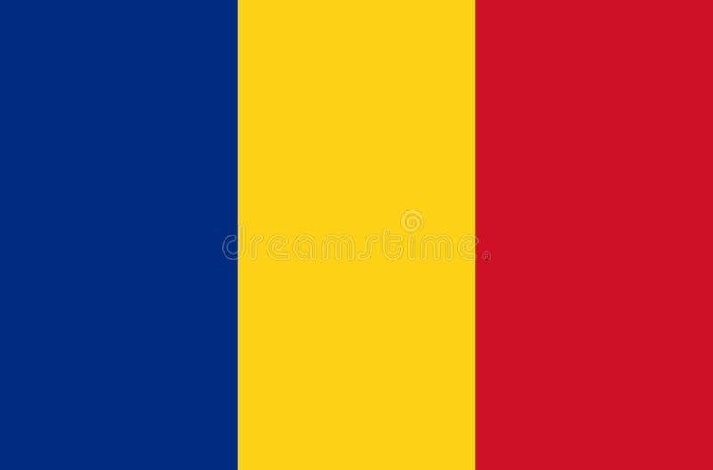 Vlag van Roemenië - het officiële symbool van de staat van Roemenië Rechthoekig, bestaand uit drie verticale banden: vector illustratie
