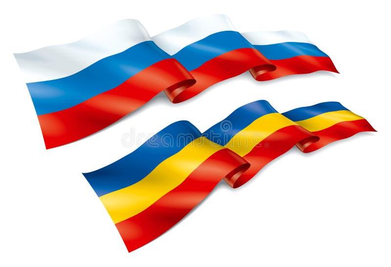Vlag van Rusland en Rostov-gebied vector illustratie