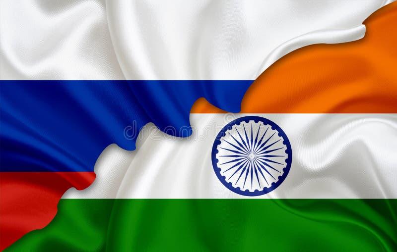 Vlag van Rusland en vlag van India royalty-vrije stock afbeelding