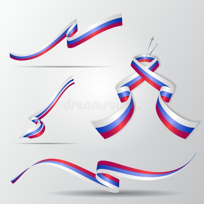 Vlag van Rusland Russische geplaatste linten Vector illustratie royalty-vrije illustratie