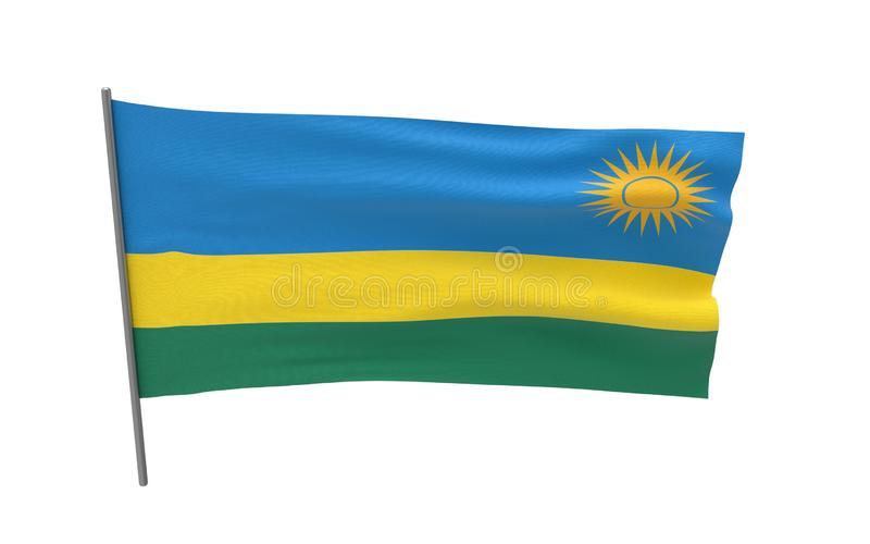 Vlag van Rwanda stock afbeelding