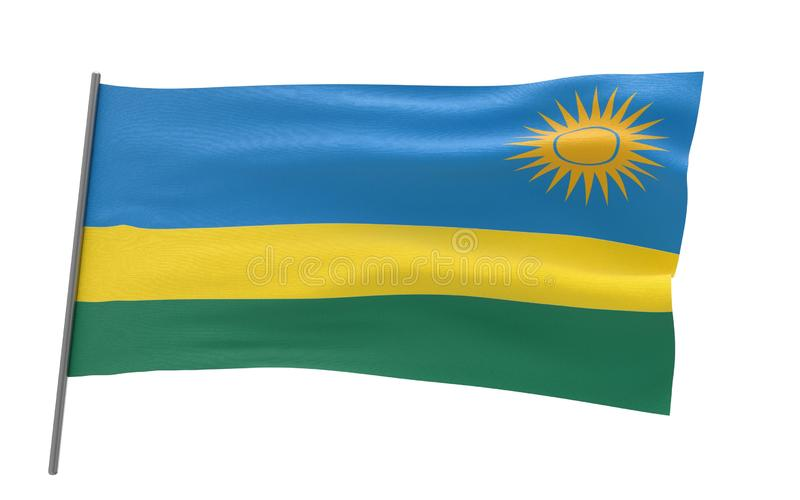Vlag van Rwanda royalty-vrije illustratie
