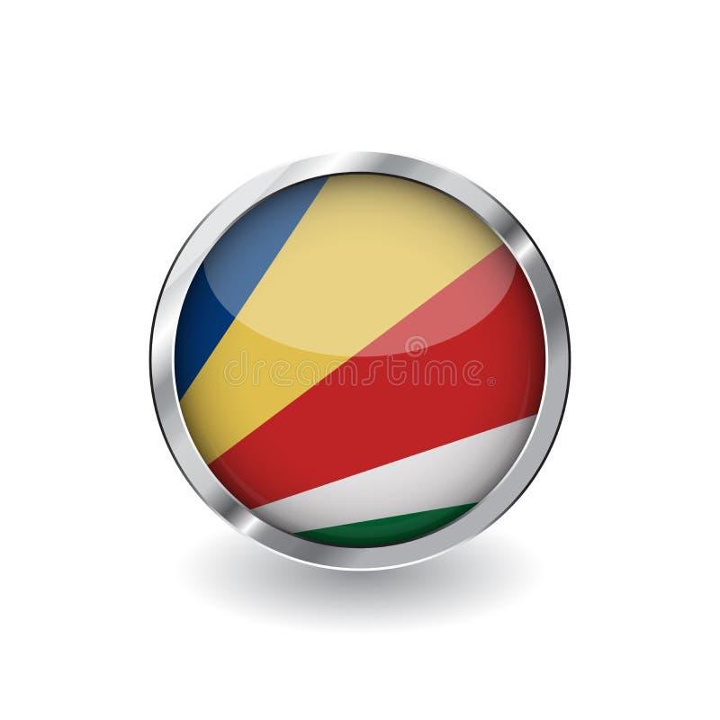 Vlag van Seychellen, knoop met metaalkader en schaduw de vlag vectorpictogram van Seychellen, kenteken met glanzend effect en met stock illustratie
