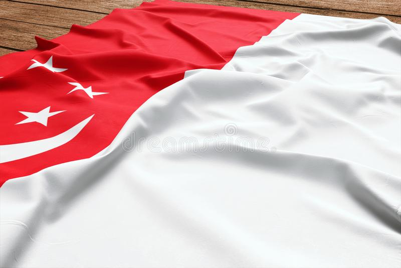 Vlag van Singapore op een houten bureauachtergrond Hoogste mening van de zijde Singaporean vlag royalty-vrije stock fotografie
