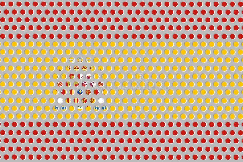 Vlag van Spanje op metaal vector illustratie