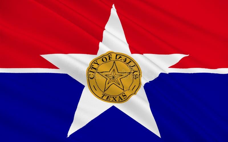 Vlag van Stad Dallas in Texas, de V.S. vector illustratie
