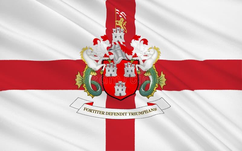 Vlag van stad Newcastle op de Tyne, Engeland royalty-vrije illustratie
