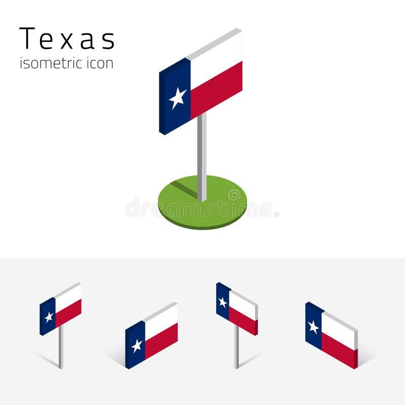 Vlag van Texas de V.S., vector 3D isometrische vlakke pictogrammen stock illustratie