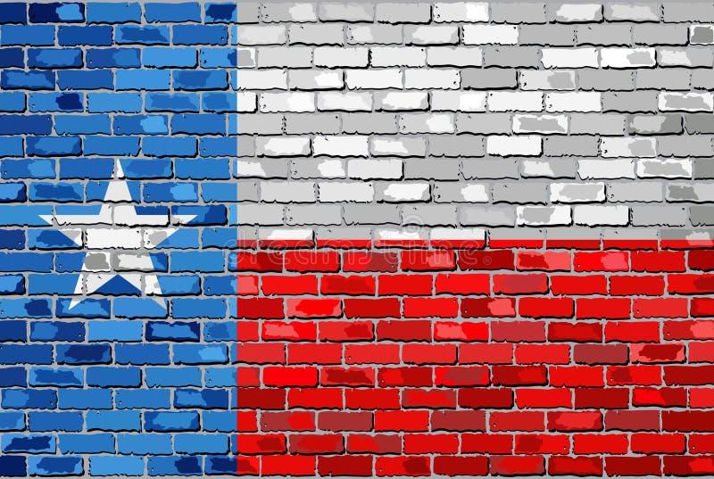 Vlag van Texas op een bakstenen muur stock illustratie