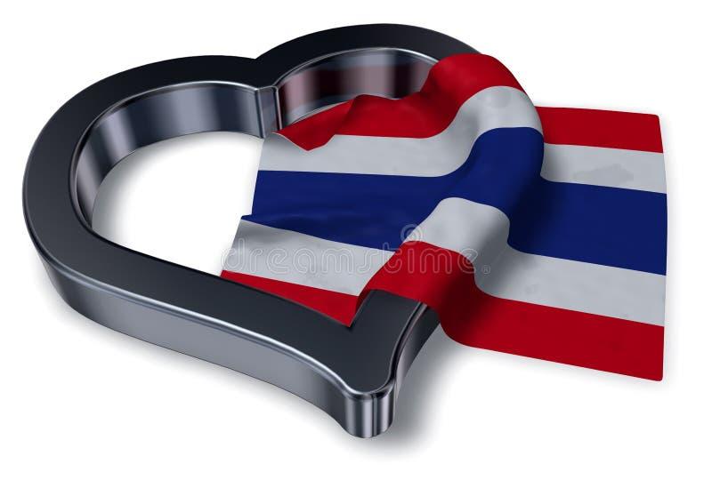 Vlag van Thailand en hart royalty-vrije illustratie